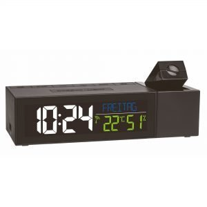 Radio-Controlled Projection Alarm Clock With Indoor Climate Show