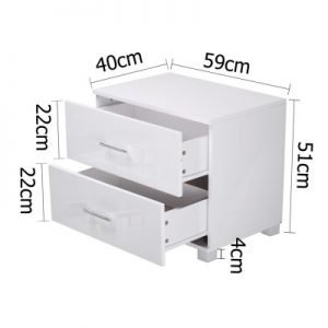 Trendy White High Gloss Bedside Table