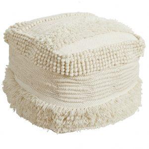 Handmade Wool Ivory Ottoman