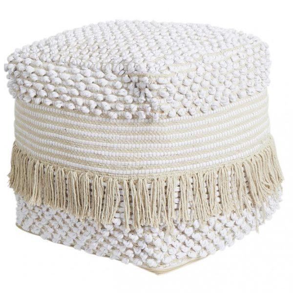 Handmade White Cotton Ottoman