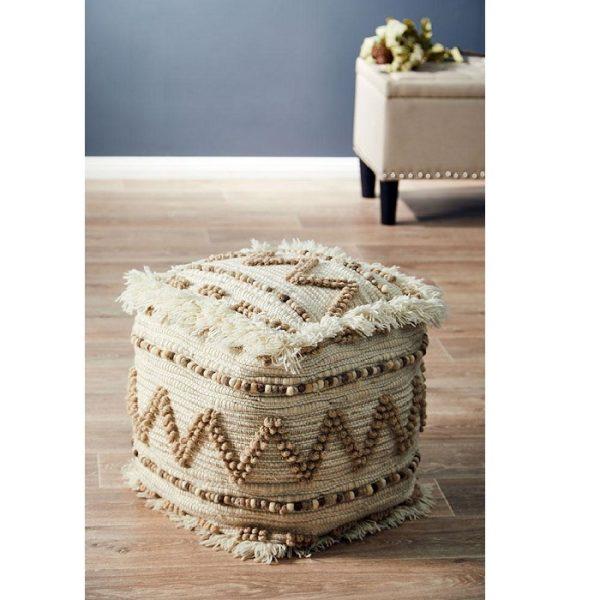 Handmade Wool Natural Ottoman