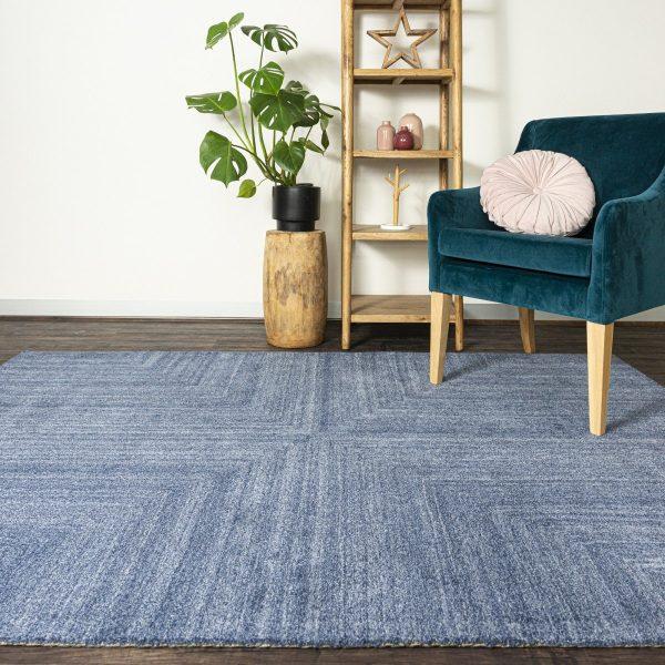 Blue Handmade Wool Tufted Rug