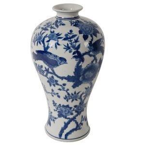 Blue and White Blossom Ceramic Vase