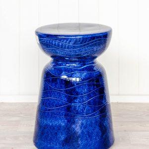 Blue Ceramic Chic Stool