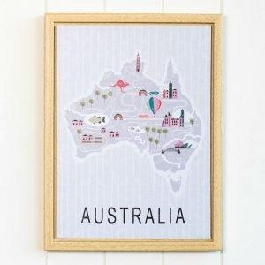 Australia Map Framed Artwork