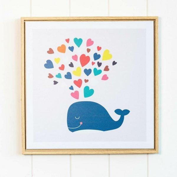 Rainbow Heart Whale Framed Artwork