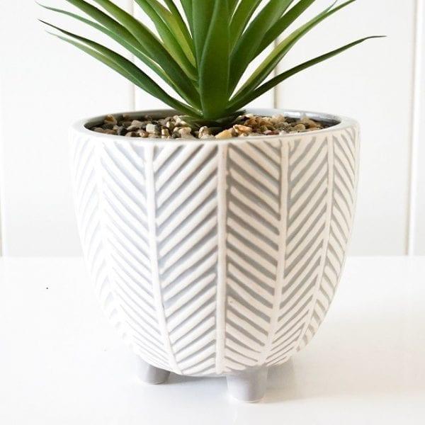 Artificial Plant & Pot - Chevron Grey and White - Set Of 2