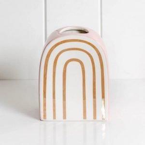Rainbow Pink/White Metallic Vase - Set Of 2