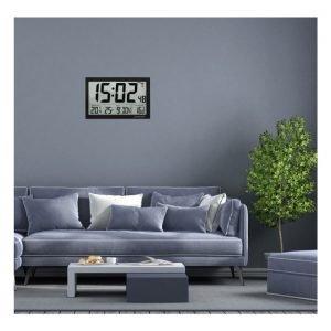 Digital XL Radio-Controlled Clock with Outdoor & Indoor Temperature