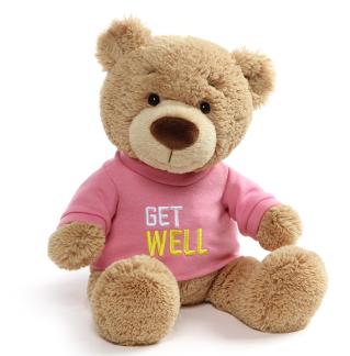 Get Well Soon | Message Bear | Pink Tshirt