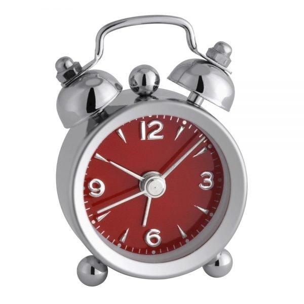 Mini Nostalgia Alarm Clock, Chrome Metal, Red