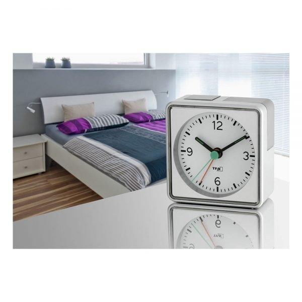 PUSH Analogue Alarm Clock   Silver