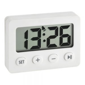 White Digital Alarm Clock With Timer And Stopwatch