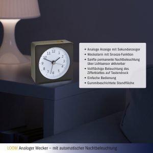 LOOM Electronic Alarm Clock | Grey/Yellow