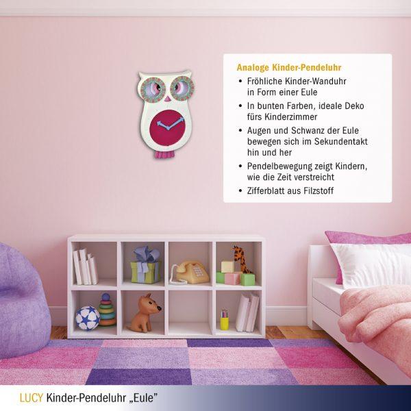 Lucy Owl | Children's Pendulum Wall Clock