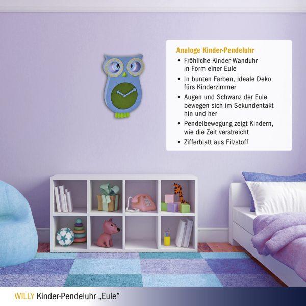 Willy Owl | Children's Pendulum Wall Clock