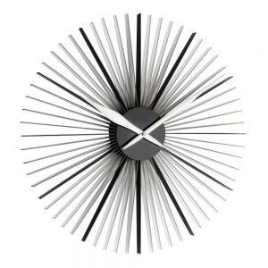 Daisy Designer Wall Clock | Black/Silver