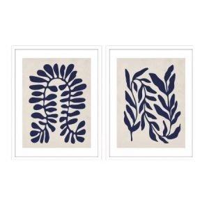 Botanic Silhouettes | Premium Framed Glass Artwork | Set of 2